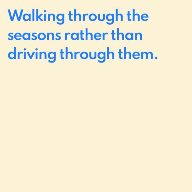Walking through the seasons rather than driving through them.