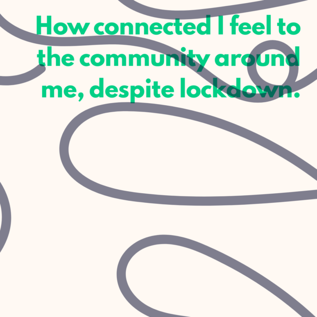 How connected I feel to the community around me, despite lockdown.