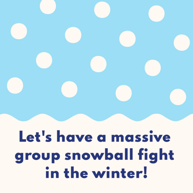 Let's have a massive group snowball fight in the winter!