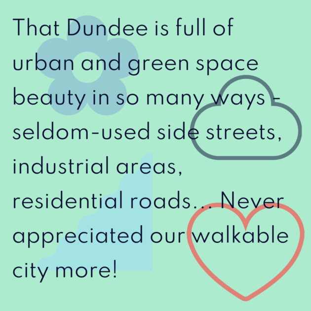 That Dundee is full of urban and green space beauty in so many ways - seldom-used side streets, industrial areas, residential roads... Never appreciated our walkable city more!