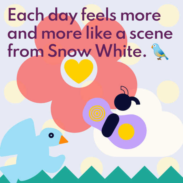 Each day feels more and more like a scene from Snow White. 🐦
