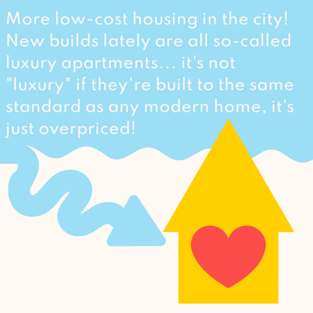 """More low-cost housing in the city! New builds lately are all so-called luxury apartments... it's not """"luxury"""" if they're built to the same standard as any modern home, it's just overpriced!"""