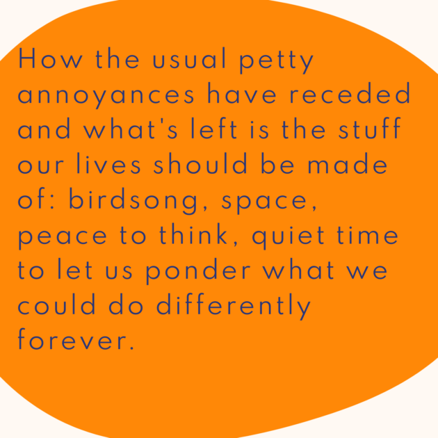 How the usual petty annoyances have receded and what's left is the stuff our lives should be made of: birdsong, space, peace to think, quiet time to let us ponder what we could do differently forever.