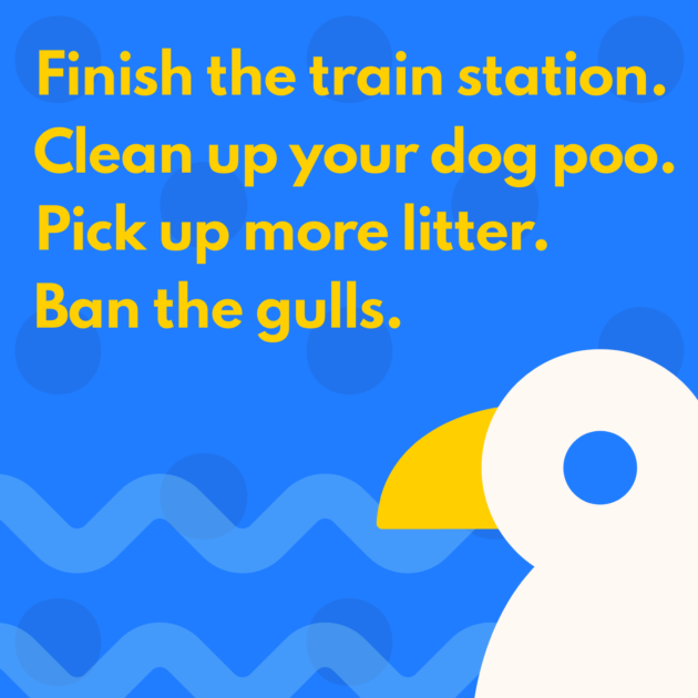 Finish the train station. Clean up your dog poo. Pick up more litter. Ban the gulls.
