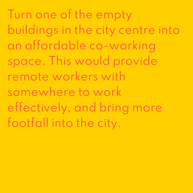 Turn one of the empty buildings in the city centre into an affordable co-working space. This would provide remote workers with somewhere to work effectively, and bring more footfall into the city.