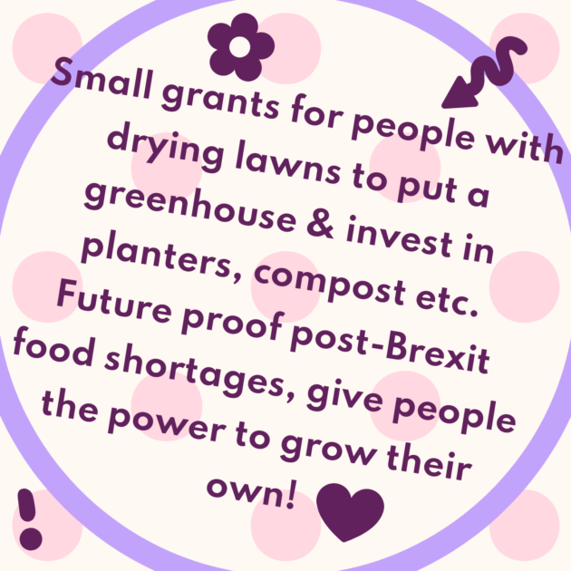Small grants for people with drying lawns to put a greenhouse & invest in planters, compost etc. Future proof post-Brexit food shortages, give people the power to grow their own!