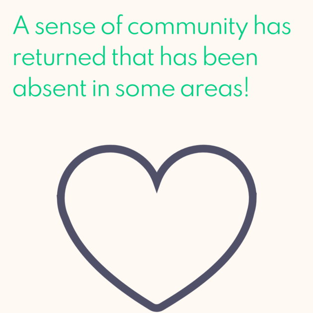 A sense of community has returned that has been absent in some areas!