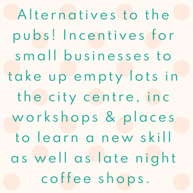 Alternatives to the pubs! Incentives for small businesses to take up empty lots in the city centre, inc workshops & places to learn a new skill as well as late night coffee shops.